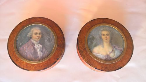 Burr ring boxes with portrait miniatures, late 18th century
