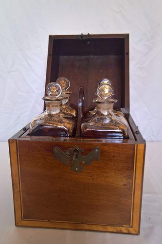 Decanter box with four decanters, circa 1780