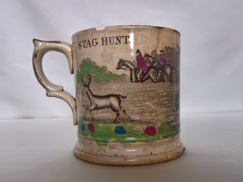 Transferware mug, England, circa 1800. Sea find (battle of Lissa, 1811)