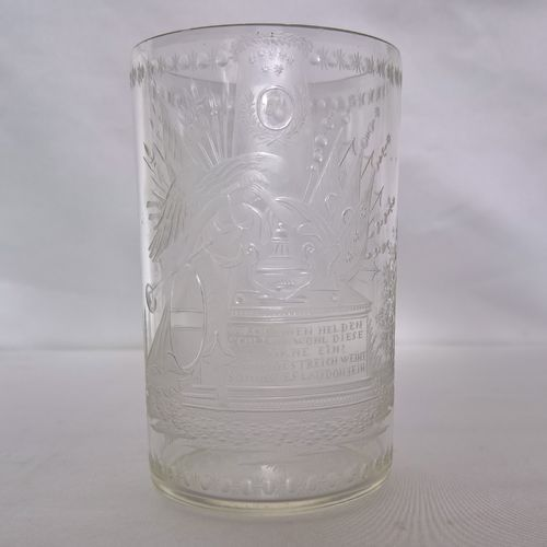 Etched glass beaker, on the death of General Laudon, circa 1790