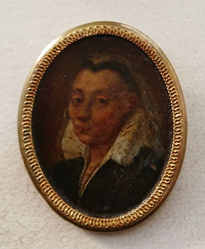 Miniature portrait of a woman on copper, 17th century